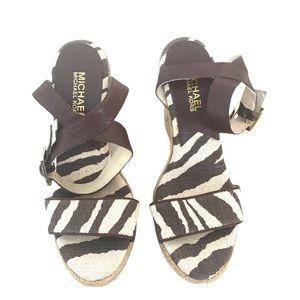 Michael Kors wedge strappy espadrille zebra size 6